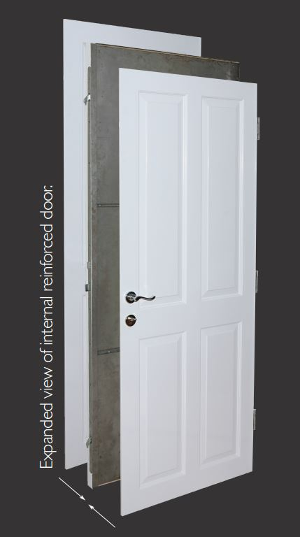 sectional view reinforced security door
